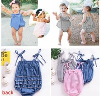 Wholesale denim rompers - 3color INS new arrivals summer denim blue baby girls kids climbing bandage bowknot romper girl kids summer cotton striped rompers 0-2T