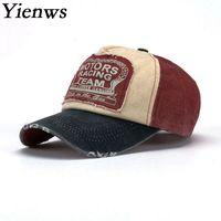 sombreros de jeans al por mayor-Yienws Vintage Jeans Curve Brim Gorra de camionero para hombres Bones Masculino Gorra de béisbol Hombre Ajustable Dad Sombreros Casquette Homme YIC070