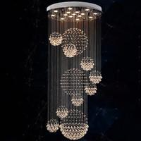 lustres de cristal au plafond moderne achat en gros de-Lustre moderne pluie goutte grand luminaire en cristal avec 11 luminaire de plafond en sphère de cristal 13 GU10 plafonds de lumière d'escalier