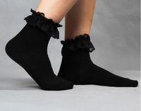 niñas con volantes calcetines de encaje al por mayor-2017 Girl Cute Ladies Vintage volantes de encaje con volantes tobillo calcetines estilo de verano ropa de mujer encantadora