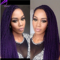 Wholesale wig purple long dark - Long Straight Fully hand braided Lace Front wigs purple brown  black blonde Senegalese Rope 2x twist Synthetic Handmade Wig For black Women