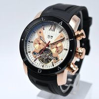 Wholesale mechanical chronograph skeleton watch - High Quality Tourbillon Skeleton Automatic Mechanical Mens Watches AAA Brand Luxury Military Sport Watch Silicone Chronograph Clocks relogio