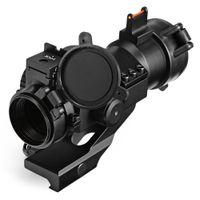 alcance de punto rojo de fibra óptica al por mayor-Caza al aire libre Tactical 1X30 Red Dot Scope Laser Sight con láser para fibra de 20MM Weaver Rail Mount Weaver Rail Mount Mount Optics