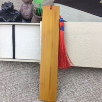 marcador gratis chino al por mayor-Estilo chino clásico Bamboo Bookmark DIY grabado en blanco marcadores Favores y regalos de la fiesta de graduación envío gratis QW8367