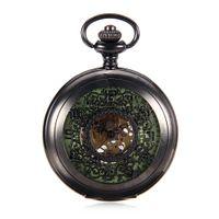 relógio de bolso novo esqueleto venda por atacado-Novo Relógio de Bolso Mecânico Luminoso Steampunk Vintage Oco Capa Analog Skeleton Mão Winding Mecânica Pocket Watch for Men