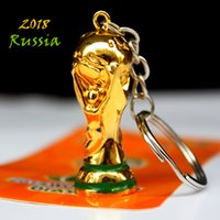 Wholesale gift souvenir keychain - European Champions Cup Keychain 2018 Russia World Cup Hercules Cup Keychain Gold Trophy LOGO Fans Gift Souvenir FIFA Fans Souvenirs