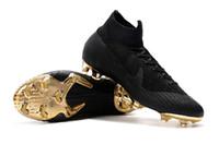 cr7 sapatos pretos venda por atacado-2018 top original preto ouro ronaldo futebol chuteiras superfly mercurial vi 360 elite neymar fg cr7 chuteiras de futebol de alta tornozelo futebol botas