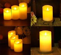 Wholesale electronic modern resale online - 4 Sizes Flameless Light Novely LED Lighting Real Flame effect LED Electronic Candle Simulation Candle Lamp b538
