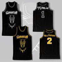 Wholesale man costumes - 2018 BLACK PANTHER Erik Killmonger JERSEY WAKANDA T'CHALLA MOIVE Costume Basketball Jersey IN STOCK