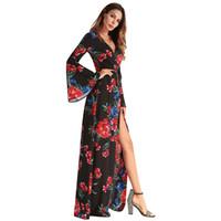 gabeln chiffon großhandel-Sexy Kleid neues Kleid Chiffon Ärmel unregelmäßige Freizeit Gabel Druck Kleid Laufsteg
