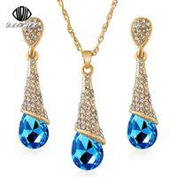 lange ohrringe halskette gesetzt großhandel-DLSHTMB Lange Blaue Kristall Ohrringe Halskette Set Neun Farbe Tropfen Ohrringe Halskette Set Elegante Dame Schmuck E75 N302