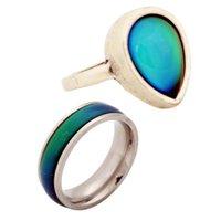 finger stein ring design großhandel-2 Teile / satz Fabrik Verkauf Edelstahl Stimmung Stein Ring Schönes Design Frauen Finger Farbwechsel Geschenk Ring