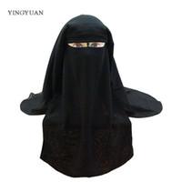 gorra de abaya al por mayor-Bufanda Musa Musulmana Islámica 3 capas Niqab Burqa Bonnet Hijab Cap Velado Sombrero Negro Cara Cubierta Abaya Estilo Wrap Head Cover S18101904