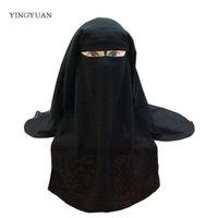 eşarp katmanları toptan satış-Müslüman Bandana Eşarp İslam 3 katmanlar Niqab Burqa Kaput Başörtüsü Kap Peçe Şapkalar Siyah Yüz Kapak Abaya Stil Wrap Başkanı Kapak S18101904