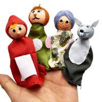 juguetes de madera para montar al por mayor-40 UNIDS = 10Set Cuento de Hadas Caperucita Roja Títeres de Madera Muñecos de Dedos Cuentan Muñeca Niños Niños Bebé Juguetes Educativos