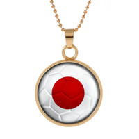 Wholesale jewelry silver japan - New Three-dimensional 2018 World Cup Japan Necklace Pendant colorful pendant Glass Cabochon Dome Necklaces jewelry customed