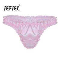 ee104075c169 Wholesale pink polka dot lingerie online - Mens Lingerie Soft Satin Polka  Dot Shiny Ruffled Frilly