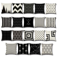Wholesale 18x18 pillow cases - Pillow Case Black and White Pattern Pillowcase Cotton Linen Printed 18x18 Inches Geometry Euro Pillow Covers 45*45cm