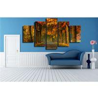 panel de lona de bosque al por mayor-Pinturas de la lona de lujo de la pintura 5 Panel Forest Pattern Wall Art imagen para la sala de estar casera decoración pintura de alta calidad 77 4hg2 BB