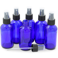 Wholesale cobalt perfume - Cobalt Blue Glass Bottle Bottles with Black Fine Mist Pump Sprayer Designed for Essential Oils Perfumes Cleaning Products Aromatherapy