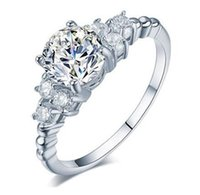 Wholesale ct shipping - Fast Free shipping service provide 2.5 CT SONA synthetic diamond engagement ring sterling silver white gold Plated wedding ring