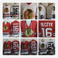 al black achat en gros de-Maillots ED OLCZYK ED de Chicago Blackhawks 1999 pour hommes cousus # 24 Bob Probert # 20 AL SECORD Maillot de hockey Chicago Black Hawks S-3XL