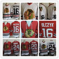 ingrosso pullover di falchi neri-Mens 1999 Chicago Blackhawks ED OLCZYK Maglie cucite # 24 Bob Probert # 20 AL SECORD Chicago Black Hawks Hockey Jersey S-3XL