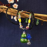 Wholesale Gourd Necklace Pendant - Ceramic Long Necklace Pendant Wholesale Spot Gourd Sweater Chain Creative Ethnic Jewelry Handmade High-temperature Kiln Classic Women 3Color