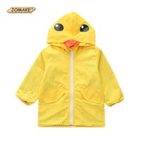Wholesale girls cute raincoats for sale - Group buy JOMAKE Children Windbreaker Autumn Kids Clothes Cute Yellow Duck Hooded Jackets Girls Boys Long Sleeve Raincoat Outerwear