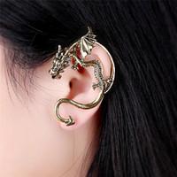 oreja de dragón punk al por mayor-Nuevo diseño oro plata negro gótico Punk Dragon Clip pendientes para mujer niña personalizar Game of Thrones Dragon Ear Cuff joyería