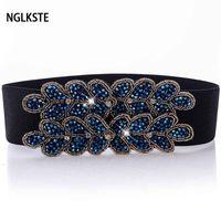 pull chandail achat en gros de-Nouvelle ceinture de mode dame perles à la main parure taille taille pull jupe coupe-vent large ceinture décorative