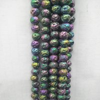 Natural Lava Stone Beads Plating Colorful Volcanic Rocks Stone Beads Strand 15'' DIY Jewelry Making Accessories Size 6mm 8mm