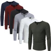 ajustada camisas sexy al por mayor-Camiseta de los hombres de moda casual cuello redondo delgado de manga larga camisetas sexy ropa de estilo ajustado traje de fitness negro blanco camiseta al por mayor