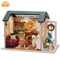kutu dollhouse toptan satış-Mobilya DIY Bebek Evi Wodden Miniatura Bebek Evleri Mobilya Kiti Kutusu Bulmaca Dollhouse Oyuncaklar Monte Çocuklar Için hediye z009