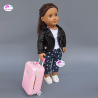 Wholesale Toy Suitcases - Pink suitcase fits 43-45cm American girl Baby Born zapf doll doll accessories
