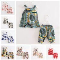 Wholesale panties baby girls - Baby Girls 2PCS Set Artificial Cotton Clothing Summer Panties Sleeveless Top toddler clothes Colorful Print 1-3 Years Old