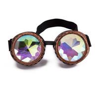 óculos de soldagem vintage venda por atacado-C.F.GOGGLE Steampunk Óculos de Solda Cyber Punk Do Vintage Óculos De Sol Retro Gótico caleidoscópio Colorido Óculos Cosplay Eyewear