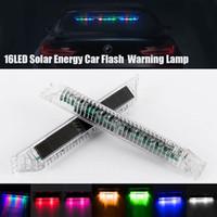 luces de advertencia autos 12v al por mayor-16 LED Solar Colorido Coche Dash Luz estroboscópica Flash Emergency Police Warning Lamp 7 colores diferentes