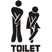 Wholesale fun stickers for sale - Group buy Label Toilet Paste Originality English Letter Bathroom Wall Sticker Man And Women Fun Entrance Sign Stickers Hot Sale xx Ww