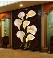 Wholesale calla lily oil painting pictures resale online - Customized Retail Living Room Oil Painting Calla Lily Porch Background Wall Picture Beautiful And Elegant White Calla Lily Delicate Open
