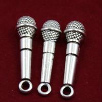 уникальные микрофоны оптовых-Античный Серебряный микрофон Шарм кулон NecklaceBracelet аксессуары мода женщины мужчины ювелирные изделия Оптовая уникальный подарок