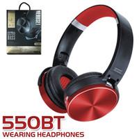 casque d'écoute orange achat en gros de-550BT casque sans fil stéréo casque Bluetooth bandeau rétractable annulation de bruit lecteur de musique avec support micro carte tf BT 4.2 dans la boîte