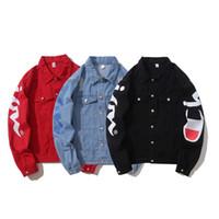 erkek için siyah uzun ceket toptan satış-2018 Sonbahar Erkekler Tasarımcı Uzun Kollu Ceket Erkek Casual Streetwear Hip Hop Slim Fit Siyah Kırmızı Ceket M-2XL