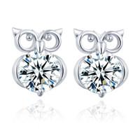 Wholesale owl back - Wholesales Cute Owl Zicron Earrings Silver Gold Hoop Earrings Mens Earrings Studs Women Luxury Stainless Steel Designer Jewelry Orecchini