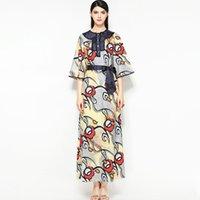8985d771007f6 Yeni Varış kadın O Boyun 3/4 Kollu Baskılı Dantel Boru Çiçek Zarif Rahat  Tasarımcı Pist Elbiseler