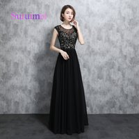 Wholesale long chiffon robe - Free Shipping Scoop Neck Fashion Style 2018 Prom Dresses Robe de Soiree Evening Dresses Chiffon With Appliques