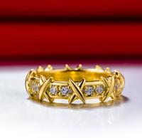 elmas sonsuzluğu toptan satış-Sonsuzluk Yüzük Jewerly Sarı Altın Renk Marka Kalite Takı Sentetik Elmas Yüzük Kadınlar için Düğün Band Infinity Takı