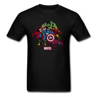 camiseta nueva imagen de diseño al por mayor-Diseño nuevo divertido para hombre Verano Camiseta fresca Negro Blanco Moda Casual Tops Camisetas Hombre manga corta camiseta Avengers imagen camiseta