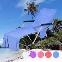 Wholesale quality lounge - High Quality Beach Lounge Chair Covers Summer Party Double Velvet Sunbath Lounger Beach Chair Cover Towels 10 Colors
