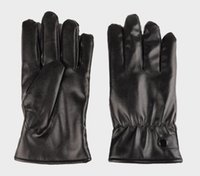 Wholesale skateboarding gloves for sale - Group buy new arrival waterproof Full finger Motorcycle Cycling Mittens Solid PU Leather Luxurious Forefinger Touch Screen Gloves black
